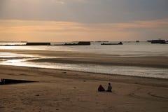 De landende stranden in Arromanches, Frankrijk. Royalty-vrije Stock Foto's