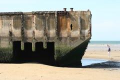 De landende stranden in Arromanches, Frankrijk. Stock Fotografie