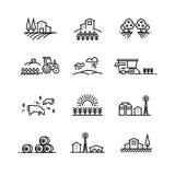 De landschappen van de dorpslijn met landbouwgebied en landbouwbedrijfgebouwen Lineaire de landbouw vectorconcepten royalty-vrije illustratie