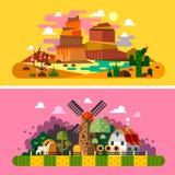 De landschappen van de dorpszonsondergang royalty-vrije illustratie