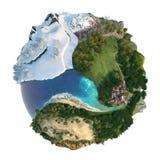 De landschappendiversiteit van de bol Stock Afbeelding