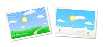 De landschappenillustratie van de winter en van de zomer stock illustratie