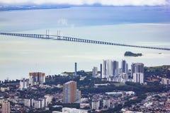 De landschapsmening van Penang-stad van, Penang-heuvel, Maleisië Stock Afbeeldingen