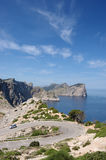 De landtong van Formentor vert stock afbeeldingen