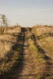 De landweg die van het land over de heuvel gaan Stock Foto