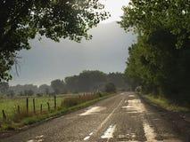 De landweg van de ochtend Stock Afbeeldingen