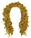 De lange krullende stijl van de de schoonheidsmanier van haren heldere gele kleuren royalty-vrije illustratie