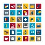 De lange reeks van kleurrijke moder stelt vlak pictogram in de schaduw Stock Afbeelding