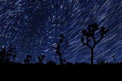 De lange Slepen van de Blootstellingsster in Joshua Tree National Park Stock Afbeelding