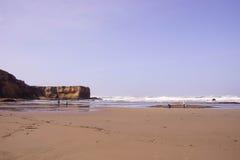 De lange strandgolven zoeken de kust Royalty-vrije Stock Foto's