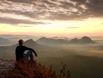 De lange wandelaar in donker overhemd zit op de struiken van een rockatnheide, geniet van nevelig ochtendlandschap stock foto's