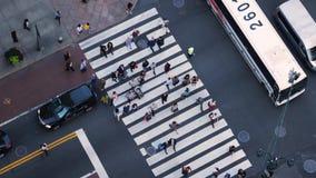 De langzame Mening van de Motie Hoge Hoek van Verkeer en Voetgangers langs 5de Weg in Manhattan stock video
