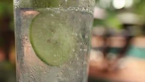 De langzame motie van Cu van koel ijzig tonicum goot in glassat het tropische plaatsen stock videobeelden