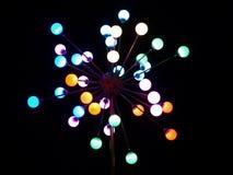 De lantaarn van de de nachtstad van de kleur. Stock Afbeeldingen