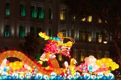 De Lantaarn van de draak bij het Festival van de Lantaarn van Singapore Stock Foto's