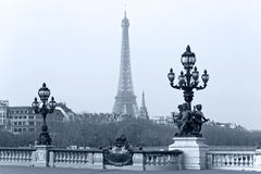 De lantaarn van de straat op Alexandre III Brug. Royalty-vrije Stock Fotografie