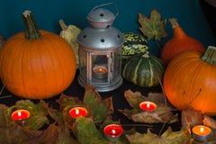 De Lantaarn van Halloween Jack o, onder de herfstbladeren Royalty-vrije Stock Afbeeldingen