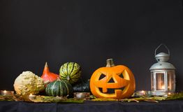 De Lantaarn van Halloween Jack o, onder de herfstbladeren, lampen en kaarsen Stock Fotografie