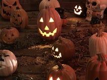De lantaarns en de schedels van Halloween Jack O stock foto