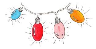 De lantaarns en de slinger van waterverfkerstmis royalty-vrije illustratie