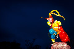 De lantaarns van de aapkoning vertegenwoordigen Nieuw maanjaar van Aap Stock Afbeelding
