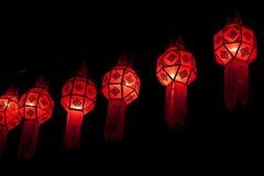 De lantaarns van Lanna in de nacht royalty-vrije stock foto