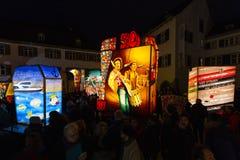 De lantaarntentoonstelling van Bazel Carnaval 2019 stock foto