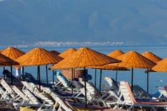 De lanterfanters en de paraplu's van het strand Stock Afbeelding