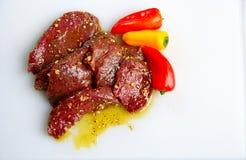 De lapjes vlees van elanden met peper Stock Fotografie
