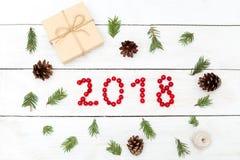 2018 de las bayas rojas del viburnum Decoraciones de la Navidad encendido imágenes de archivo libres de regalías