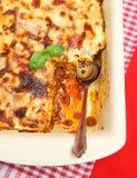De Lasagna's van het rundvlees in het Dienen van Schotel royalty-vrije stock fotografie