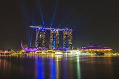 De laser en de verlichting van Marina Bay Sands Singapore tonen Stock Afbeeldingen
