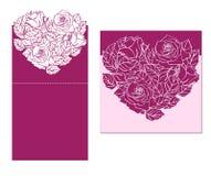 De laser sneed kaart temlate met roze hartornament Knipsel p Stock Afbeelding