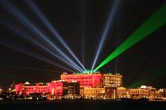 De laser toont bij het Paleis van Emiraten, Abu Dhabi, Verenigde Arabische Emiraten royalty-vrije stock fotografie