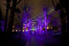 De laser toont met lichten bij het jaarlijkse Lichte Festival van Amsterdam op 30 December, 2013 Royalty-vrije Stock Afbeelding