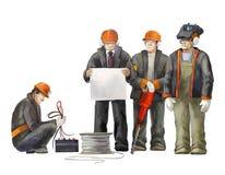 De lasser, elektricien, de arbeider van de hefboomhamer, afgevaardigde leidt, architect en projectleider Bouwers die aan bouwwerk Stock Foto