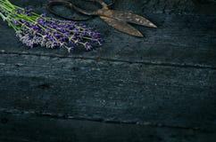 De lavendel bloeit, rozemarijn, munt, thyme, melissa met oude schaar op een zwarte houten lijst Gebrand Hout Kuuroord en schoonhe Stock Foto's