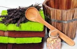 De lavendel van Wellness van de sauna stock afbeelding