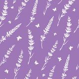 De lavendelvlinders herhalen patroonachtergrond Stock Fotografie