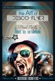 De lay-out van de de Clubvlieger van de disconacht met de vorm van DJ Stock Fotografie