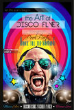 De lay-out van de de Clubvlieger van de disconacht met de vorm van DJ Stock Afbeeldingen