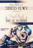 De lay-out van de de Clubvlieger van de disconacht met Disck-Jockeyvorm en muziek Stock Afbeeldingen