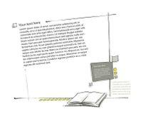 De lay-out van de pagina, inbegrepen boekpictogram (eenvoudige tekening) Royalty-vrije Stock Foto's