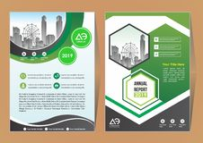De lay-out van het brochuremalplaatje, het jaarverslag van het dekkingsontwerp, tijdschrift, vlieger of boekje in A4 met blauwe g royalty-vrije illustratie