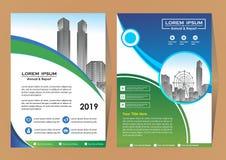 De lay-out van het brochuremalplaatje, het jaarverslag van het dekkingsontwerp, tijdschrift, vlieger of boekje in A4 met blauwe g stock illustratie