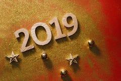 De lay-out van het gelukkige Nieuwjaar nummer 2019 blocnote en beschikbare ruimte voor stock afbeelding