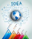 De Lay-out van het ideeconcept voor Brainstorming en Infographic-achtergrond Stock Afbeeldingen