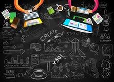 De Lay-out van het ideeconcept voor Brainstorming en Infographic-achtergrond Royalty-vrije Stock Foto's