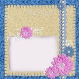 De lay-out van het plakboek in blauwe en beige kleuren royalty-vrije illustratie