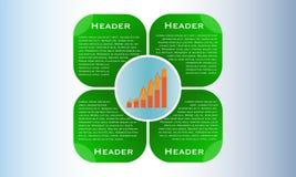 De lay-out van het Webontwerp, bedrijfspresentatie met kolomgrafiek stock illustratie